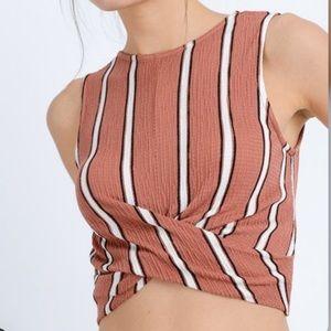 Love Tree Pink & White Stripe Twist-Hem Crop Top